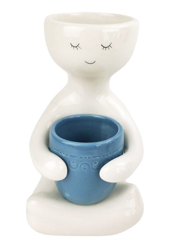 Person Holding a Pot Planter Dusty Blue
