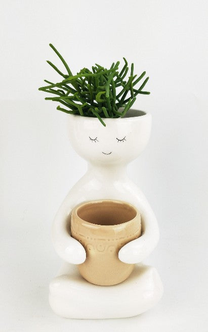 Person Holding a Pot Planter Beige