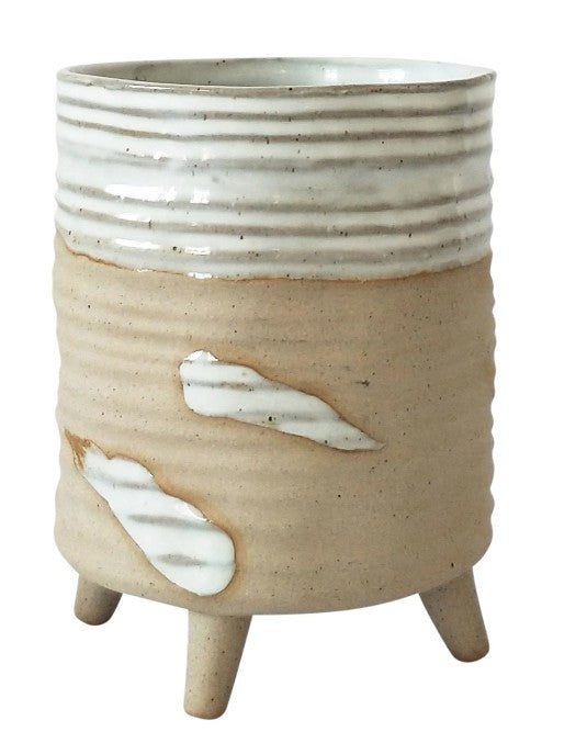 Swish Planter with Legs Sand & White