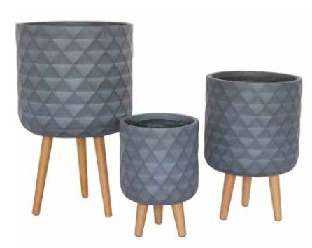 Diamond Planters Set 3 Grey