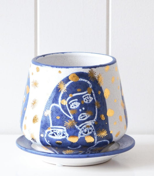 Pot/Planter with Saucer - Abstract Navy/Gold