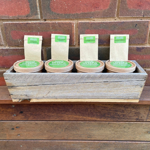 Rustic Wooden Window Box with 4 x Grow @ Home kits