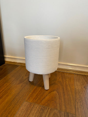 White Ribb Cylinder Planter with Legs
