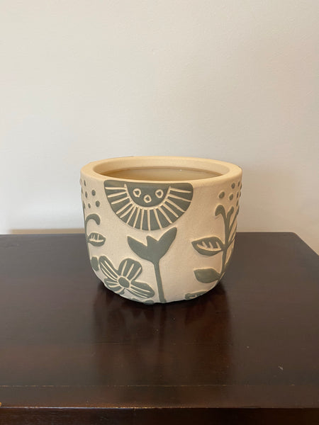 Ceramic Pot 17 x 13cms Natural/Green