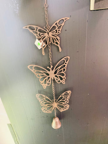 Hanging Triple butterfly mobile with bell