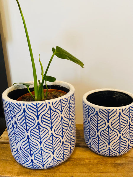 Blue Leaf Design Pots