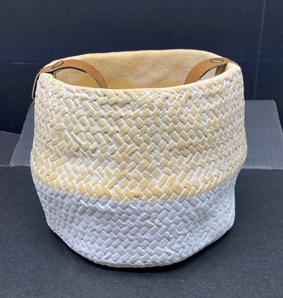 Ceramic Pot with Leather Strap