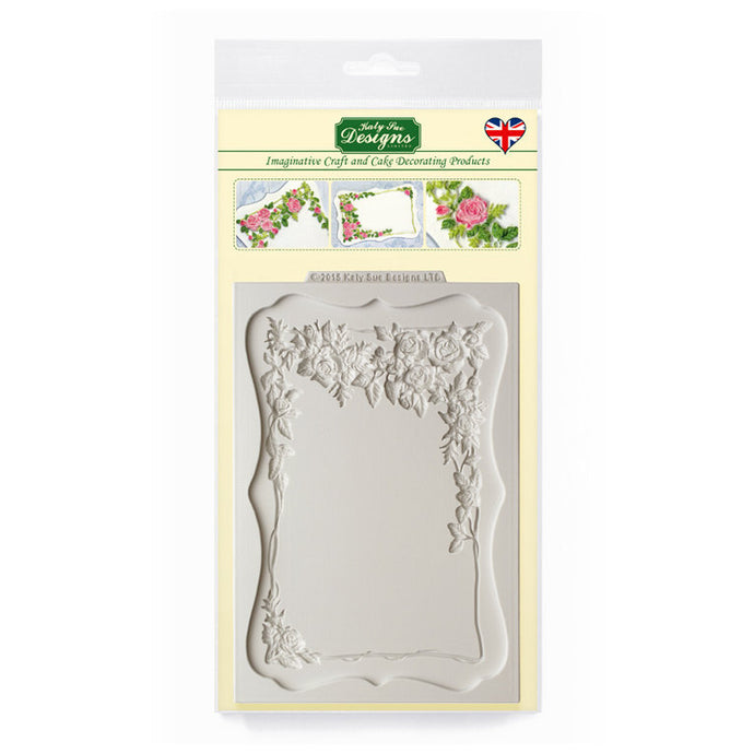 C&D - Rose Border Plaque Silicone Mold pack shot
