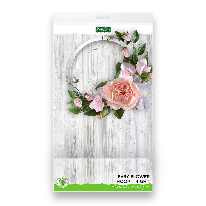 Easy Flower Hoop - Right - Mirror Silver Cake Topper