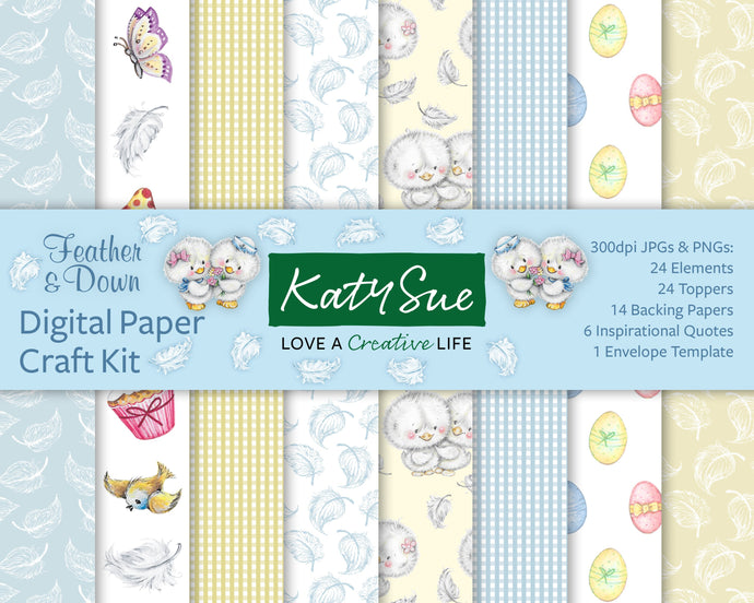C - Feather & Down Digital Paper Craft Pack Kit