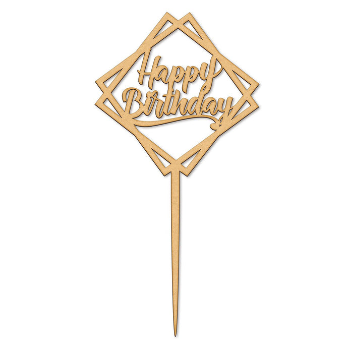 Geometric Happy Birthday Wooden Cake Topper  (Long Pick)