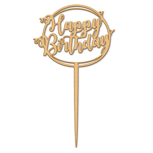 Happy Birthday Circle Wooden Cake Topper (Long Pick)