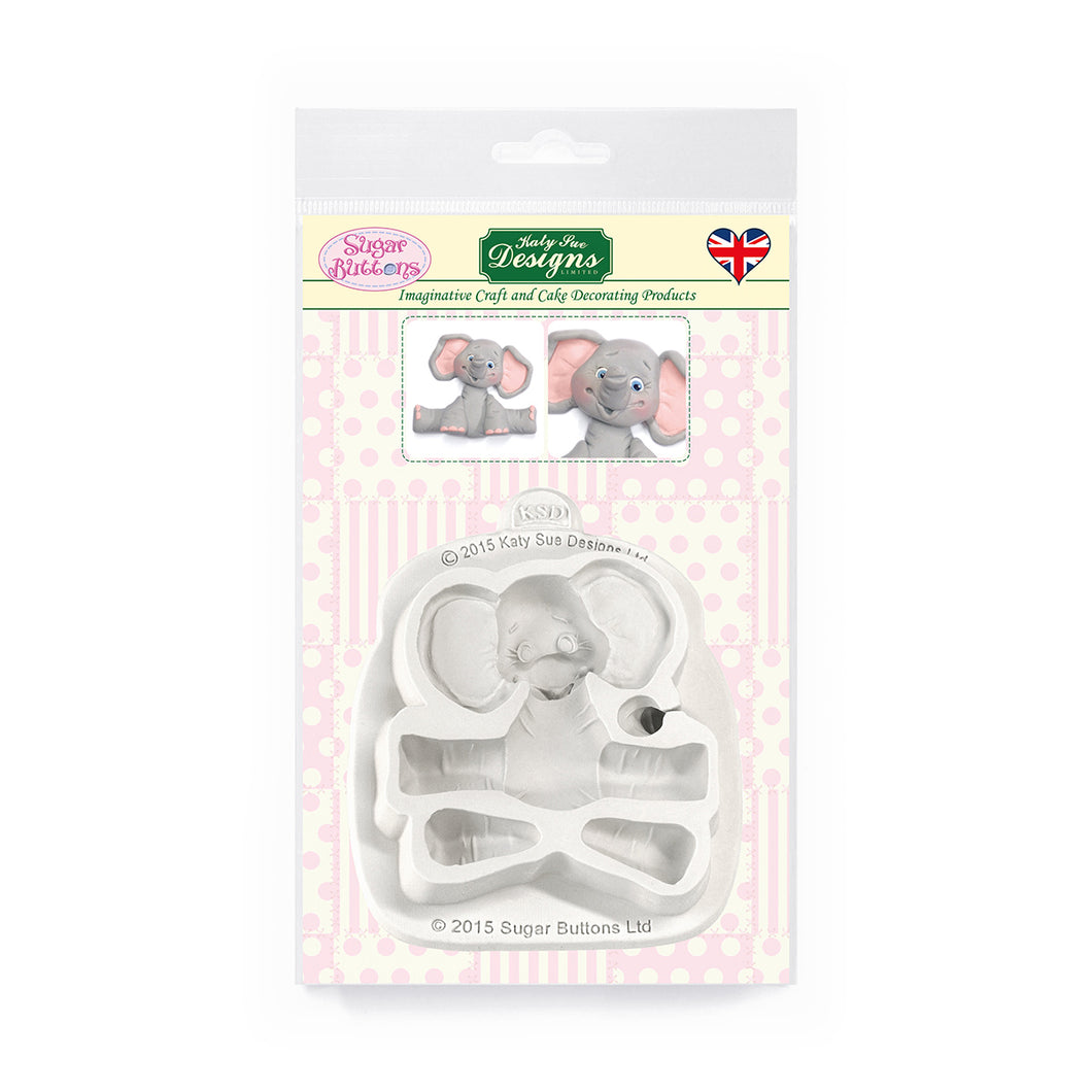 C&D - Baby Elephant Sugar Buttons Silicone Mold pack shot