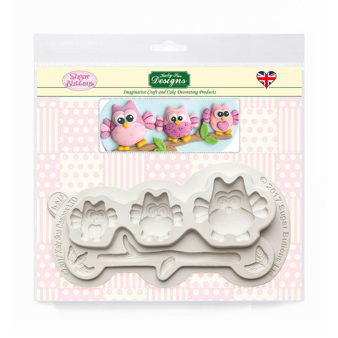 C&D - Owls Sugar Buttons Silicone Mold pack shot