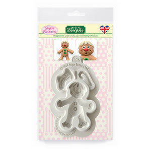 C&D - Gingerbread Man Sugar Buttons Silicone Mold pack shot