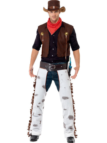 Men's Cowboy Fancy Dress Costume Brown