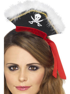 Women's Mock Pirate Hat on Headband Black