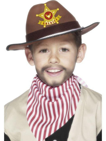 Child Unisex Cowboy Hat with Sheriff Badge Brown