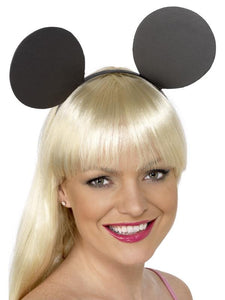 Adult Unisex Mouse Ears on Headband Black