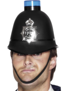 Men's Police Helmet with Flashing Siren Light
