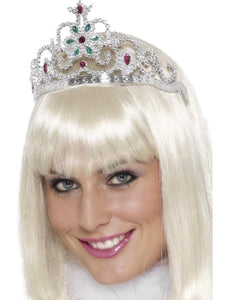Flower Jewelled Tiara Silver