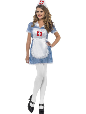 Women's Nurse Naughty Fancy Dress Costume Blue