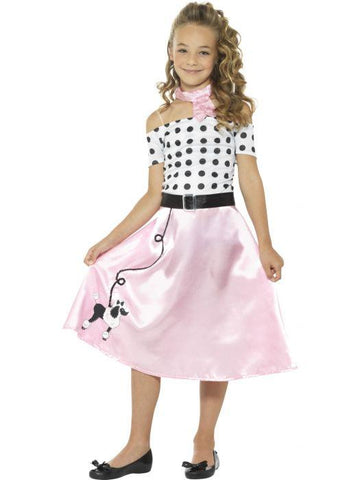 Girl's 50s Poodle Girl Fancy Dress Costume Pink