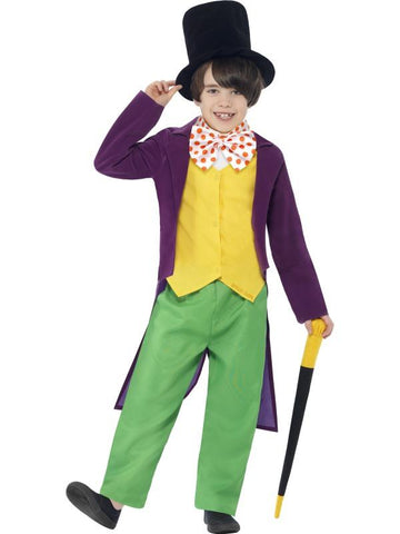 Boy's Roald Dahl Willy Wonka Fancy Dress Costume Green Yellow