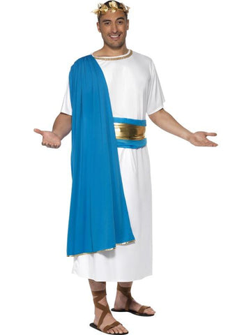 Men's Roman Senator Fancy Dress Costume Blue&whte