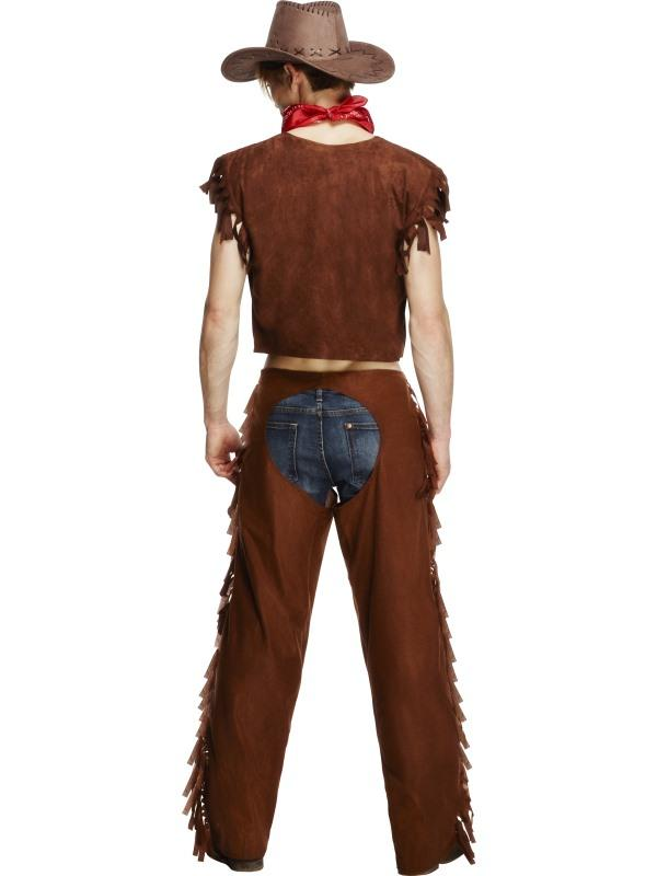 Smiffys Fever Male Ride Em High Cowboy Costume with Waistcoat Chaps and Scarf brown MEDIUM