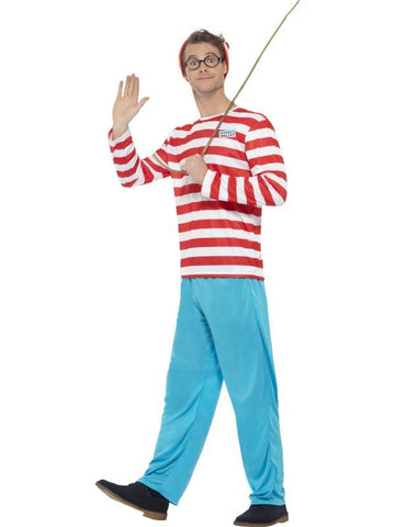 Men's Where's Wally? Fancy Dress Costume Red & White