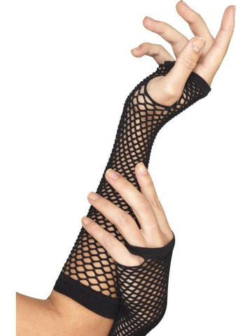 Women's Fishnet Gloves, Long Black