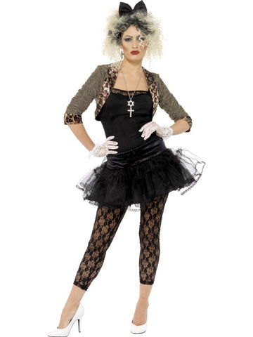 Women's 80s Madonna Wild Child Fancy Dress Costume Black