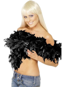 Deluxe Boa, Black, Feather