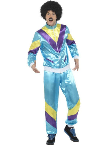 Men's 80s Height of Fashion Shell Suit Fancy Dress Costume Blue