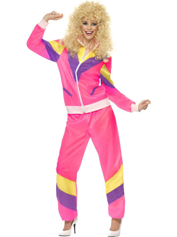 Adults 80'S Height Of Fashion Shell Suit Costume, Pink