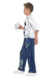 Boy's David Walliams Deluxe Billionaire Boy Fancy Dress Costume Blue&whte