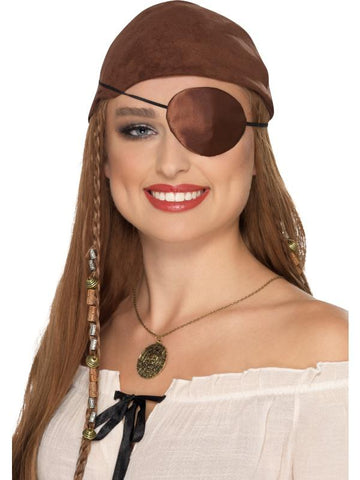 Adult Unisex Deluxe Pirate Eyepatch Brown