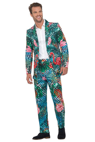 Men's Hawaiian Tropical Flamingo Suit Multi