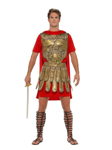 Men's Economy Roman Gladiator Fancy Dress Costume Gold&red
