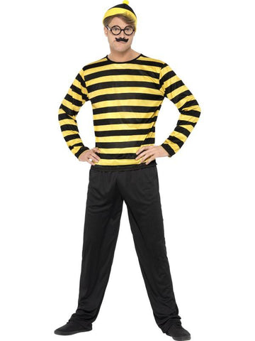 Men's Where's Wally Odlaw Fancy Dress Costume Blk&yell