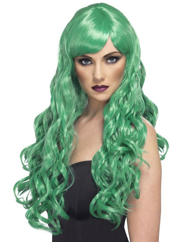 Women's Desire Wig Green, Long, Curly with Fringe