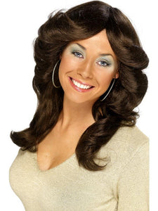 Women's 70s Flick Wig Brown