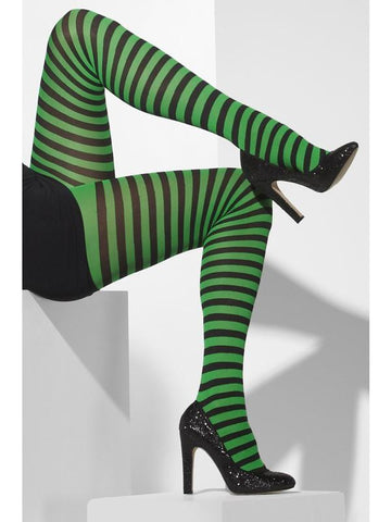 Women's Opaque Tights Grn&blk