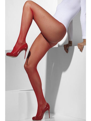 Women's Fishnet Tights Red
