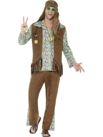 60s Hippie Costume, with Trousers, Top, Waistcoat