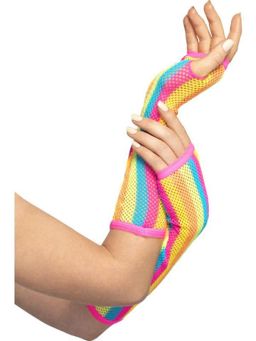 Women's Fishnet Gloves, Long Neon
