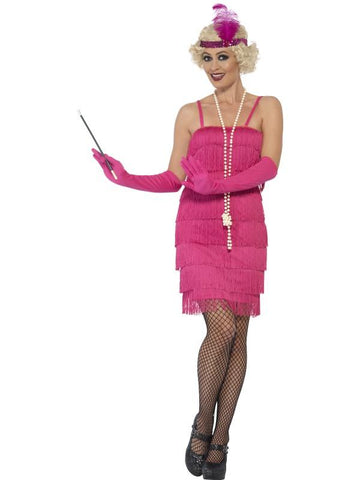 Women's Flapper Fancy Dress Costume Pink, Short Dress