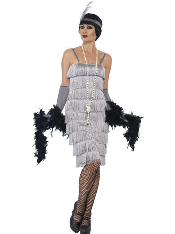 Women's Flapper Silver Long Fancy Dress Costume