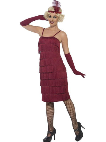 Women's Flapper Fancy Dress Costume,Long Burgundy Red